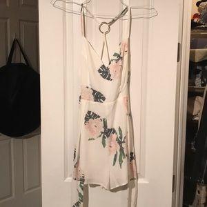 White floral tie romper